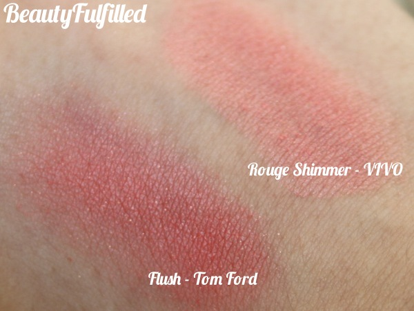 12 Favourite Beauty Products of 2012 - Blusher Rouge Shimmer by VIVO, Flush by Tom Ford Swatch